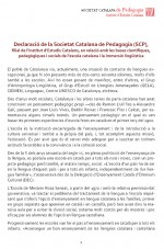Declaraci de la Societat Catalana de Pedagogia